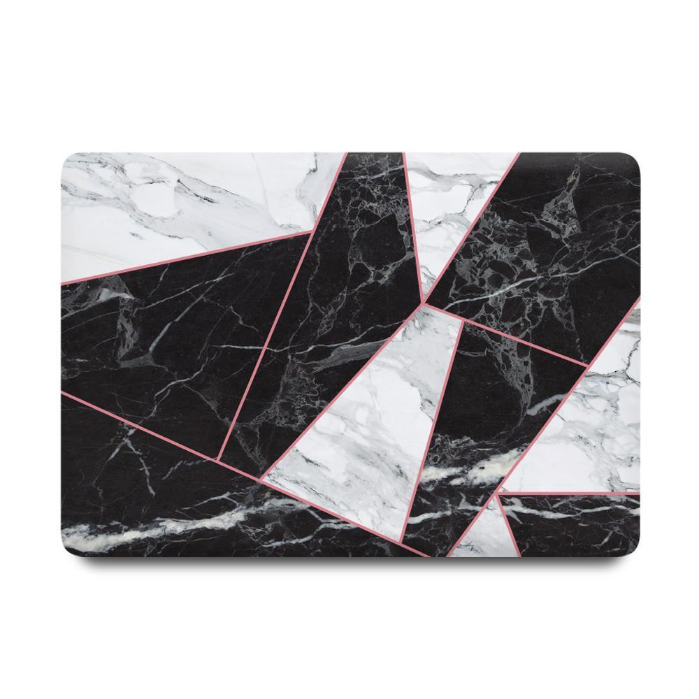 Best Macbook Protective Package - MacBook Case Protective Screen Package - Criss Cross BW Marble [A2141] New MacBook Pro 16' 2019 / Multi-Color Macbook Keypads - Carbon Black