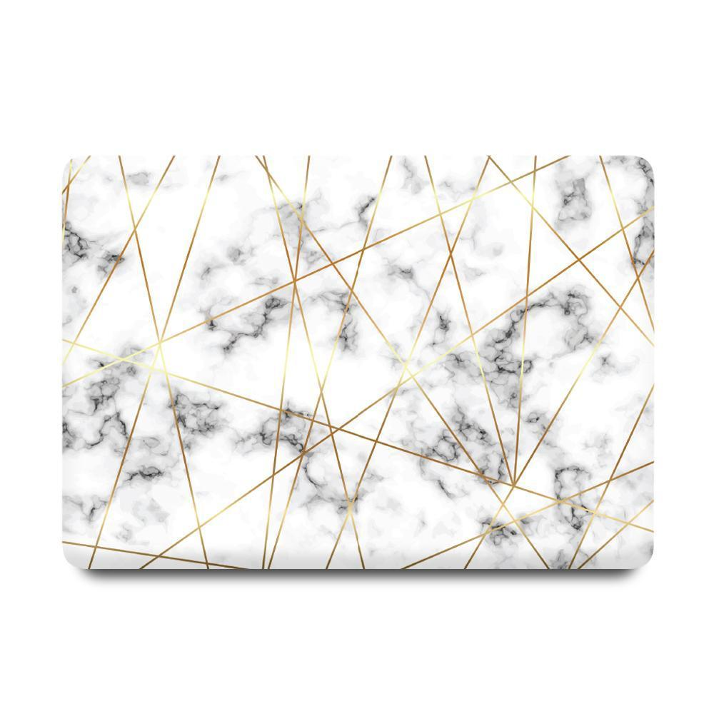 Best Macbook Protective Package - MacBook Case Protective Screen Package - Golden Geometric Marble [A2141] New MacBook Pro 16' 2019 / Multi-Color Macbook Keypads - Snowy White