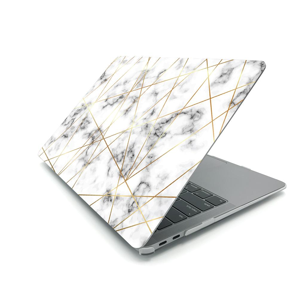 Best Macbook Case - MacBook Case - Golden Geometric Marble