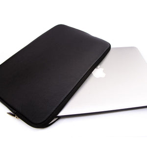 MacBook Sleeve - Spill-Proof Leather Zip Bag in Black | Slick Case