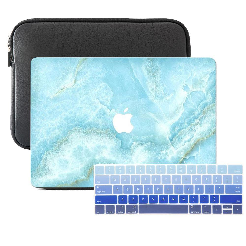 Macbook Case Sleeve Package - Turquoise Shredded Marble - Slick Case
