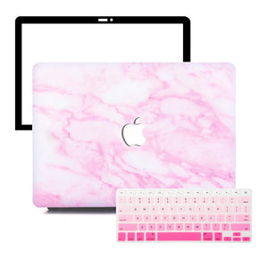 MacBook Case Protective Screen Package - Pink Marble - Slick Case