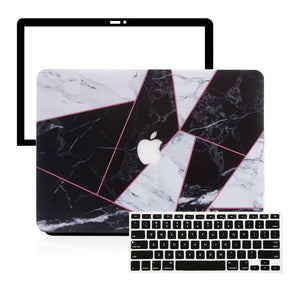 Macbook Protective Package [A1534] MacBook 12' / Multi-Color Macbook Keypads - Carbon Black MacBook Case Protective Screen Package - Criss Cross BW Marble