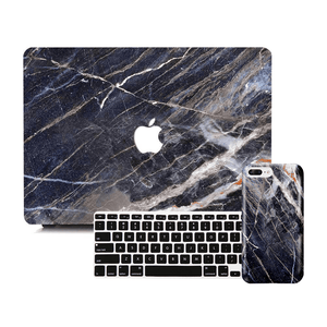 Macbook Discount Package [A1370/A1465] MacBook Air 11' / iPhone 6/6s / Multi-Color Macbook Keypads - Carbon Black MacBook & iPhone Case Package - Shred Marble