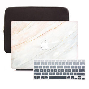 Macbook Sleeve Package [A1370/A1465] MacBook Air 11' / Gradient Keypad - Grey / MacBook Sleeve - Padded Sponge-lined Zip Bag in Black MacBook Case Sleeve Package - Gradient Marble