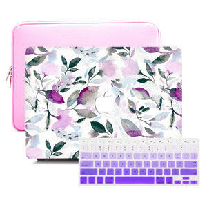Macbook Sleeve Package [A1370/A1465] MacBook Air 11' / Gradient Keypad - Purple / MacBook Sleeve - Padded Sponge-lined Zip Bag in Pink MacBook Case Sleeve Package - Floral Violet