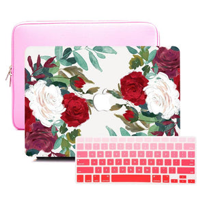 Macbook Sleeve Package [A1370/A1465] MacBook Air 11' / Multi-Color Macbook Keypads - Red / MacBook Sleeve - Padded Sponge-lined Zip Bag in Pink MacBook Case Sleeve Package - Clustered Roses