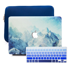 Macbook Sleeve Package [A1370/A1465] MacBook Air 11' / Gradient Keypad - Blue / MacBook Sleeve - Spill-Proof Leather Zip Bag in Navy Blue MacBook Case Sleeve Package - Frosty Heights