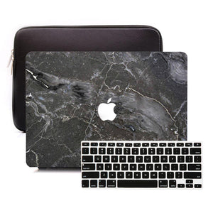 Macbook Sleeve Package [A1370/A1465] MacBook Air 11' / Multi-Color Macbook Keypads - Carbon Black / MacBook Sleeve - Padded Sponge-lined Zip Bag in Black MacBook Case Sleeve Package - Argos Black Marble