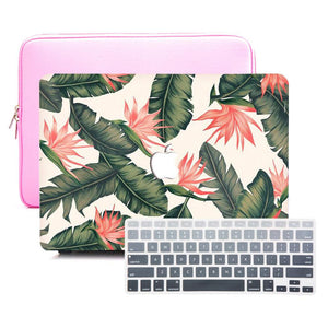 Macbook Sleeve Package [A1370/A1465] MacBook Air 11' / Gradient Keypad - Grey / MacBook Sleeve - Padded Sponge-lined Zip Bag in Pink MacBook Case Sleeve Package - Betel Nut Leaf