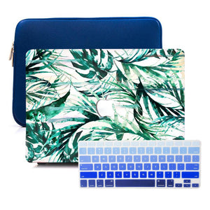 Macbook Sleeve Package [A1370/A1465] MacBook Air 11' / Gradient Keypad - Blue / MacBook Sleeve - Spill-Proof Leather Zip Bag in Navy Blue MacBook Case Sleeve Package - Palm Breeze