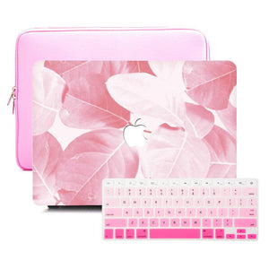 Macbook Sleeve Package [A1370/A1465] MacBook Air 11' / Gradient Keypad - Pink / MacBook Sleeve - Padded Sponge-lined Zip Bag in Pink MacBook Case Sleeve Package - Hazel Leaf