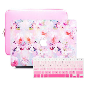 Macbook Sleeve Package [A1370/A1465] MacBook Air 11' / Gradient Keypad - Pink / MacBook Sleeve - Padded Sponge-lined Zip Bag in Pink MacBook Case Sleeve Package - Posy Blossoming