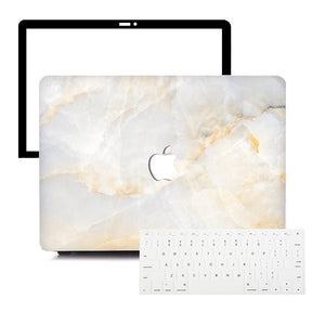 MacBook Case Protective Screen Package - Alabaster Marble - Slick Case