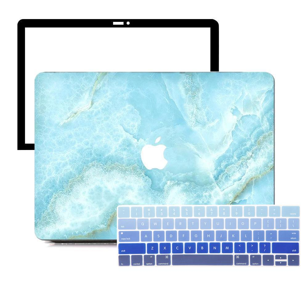Best Macbook Protective Package - Macbook Case Protective Screen Package - Turquoise Shredded Marble