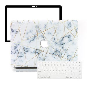 Macbook Protective Package [A1370/A1465] MacBook Air 11' / Multi-Color Macbook Keypads - Snowy White MacBook Case Protective Screen Package - Golden Geometric Marble