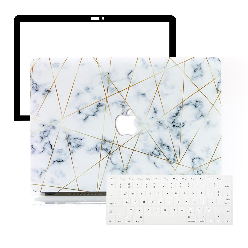 Best Macbook Protective Package - MacBook Case Protective Screen Package - Golden Geometric Marble