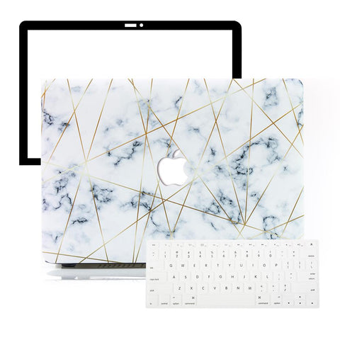 MacBook Protective Package - Golden Geometric Marble