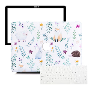 Macbook Protective Package [A1370/A1465] MacBook Air 11' / Multi-Color Macbook Keypads - Snowy White MacBook Case Protective Screen Package - Pet Garden