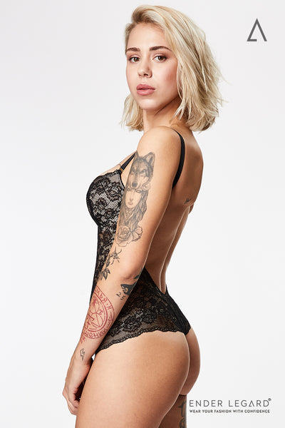 Backless underwear bodysuit with demi cups for bust support in black stretch lace | ENDER LEGARD