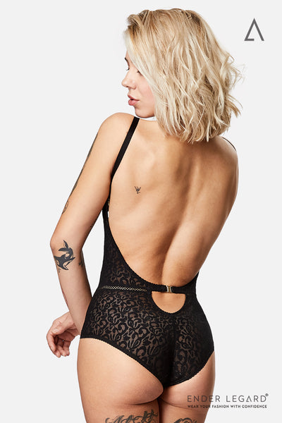 Ultra low back lingerie bodysuit in black with plunge bra for extra lift and support | ENDER LEGARD