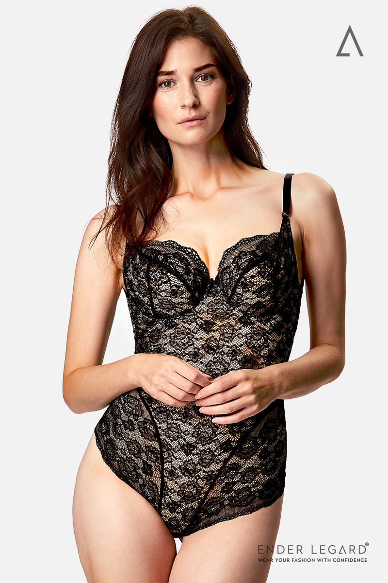 Backless bodysuit shaper in black lace with soft cups for fuller bust support | ENDER LEGARD