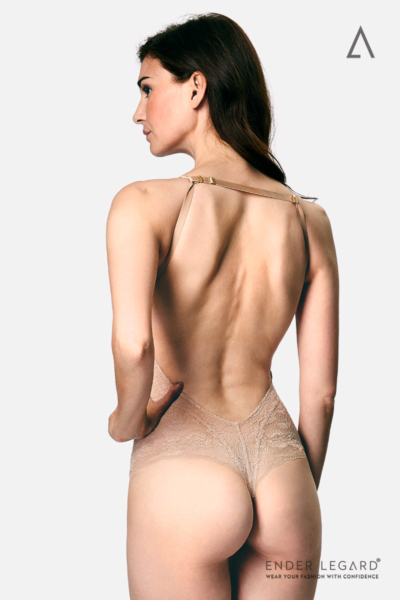 Low back bodysuit shapewear in nude lace with convertor straps as bridal underwear for backless wedding dress | ENDER LEGARD