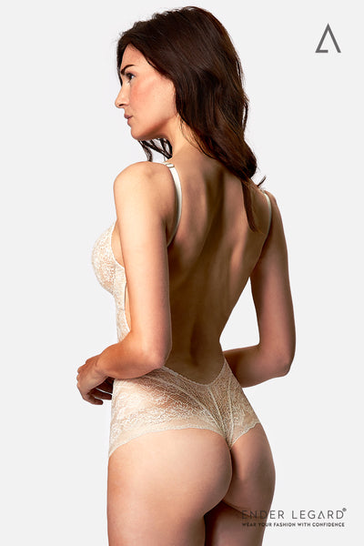 Backless underwear bodysuit shaper with soft cups in ivory lace for low back wedding dress | ENDER LEGARD