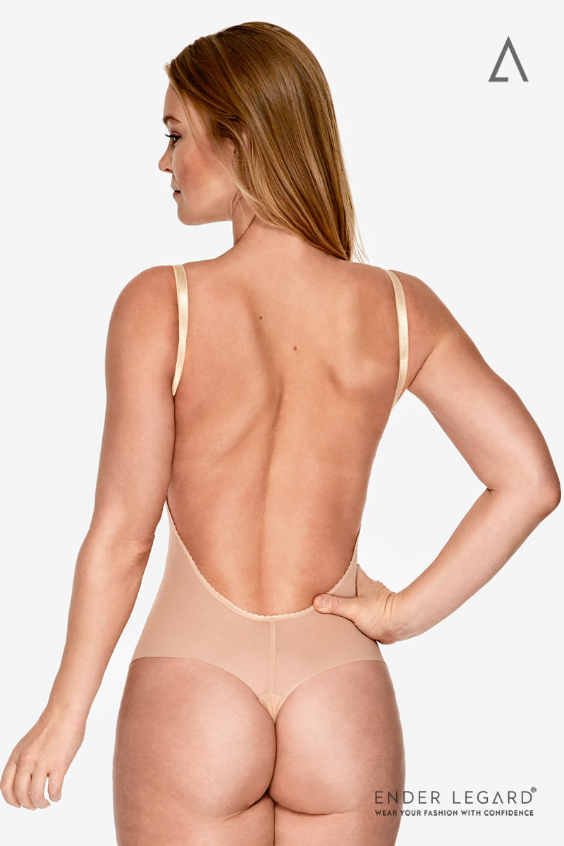 Backless wedding lingerie in nude mesh with balconette cups as seamless bodysuit shaper for low back dress | ENDER LEGARD
