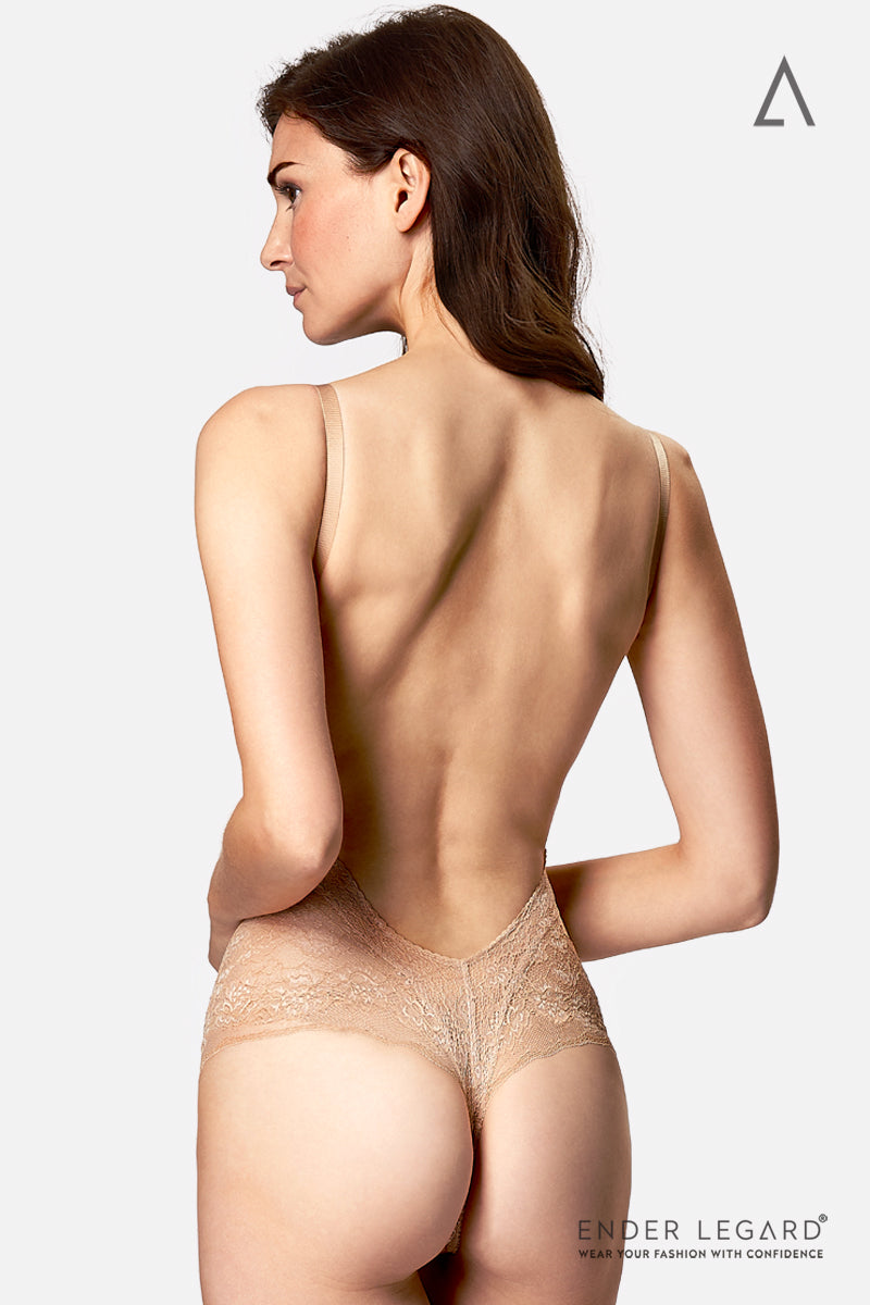Backless wedding lingerie in nude lace with underwired balconette cups as bodysuit shaper for low back dress | ENDER LEGARD