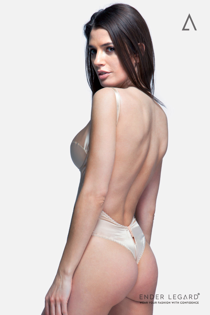 Wedding lingerie bodysuit for backless bridal dress in beige silk with full coverage cups | ENDER LEGARD