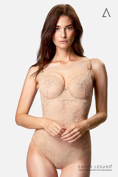 Low back bridal underwear bodysuit in beige lace with soft cups for backless wedding dress | ENDER LEGARD