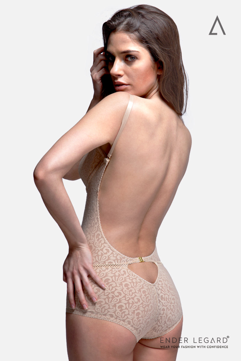 Low back bodysuit shapewear with plunge bra in beige as bridal underwear for backless wedding dress | ENDER LEGARD
