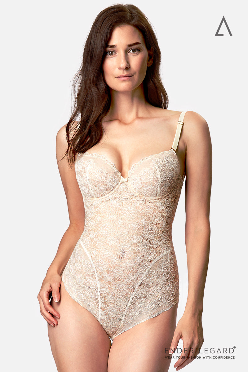 Low back bodysuit shapewear in ivory lace with demi cups as bridal underwear for backless wedding dress | ENDER LEGARD