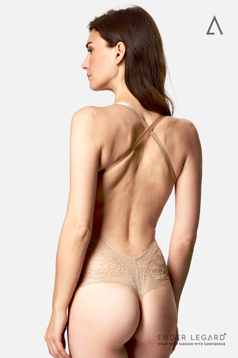 Backless wedding underwear bodysuit in nude lace with cross-over straps as bridal lingerie for low back dress | ENDER LEGARD