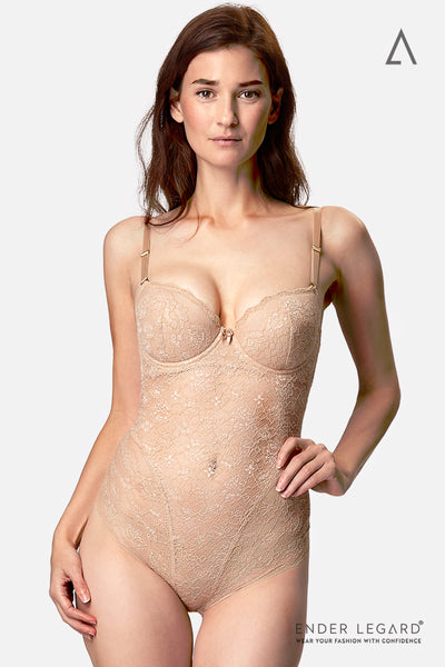 Low back bodysuit shapewear in nude lace with demi cups as bridal underwear for all backless wedding dress | ENDER LEGARD