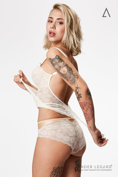 Lace panties briefs for ivory bodysuit shaper | ENDER LEGARD