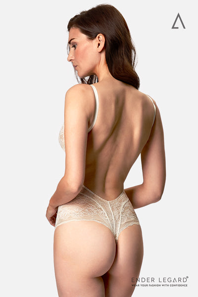 Low back bridal underwear with underwired demi cups in ivory lace as backless bodysuit for wedding dress | ENDER LEGARD