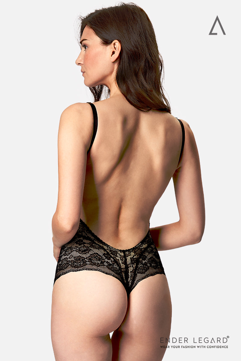 Backless underwear bodysuit with soft bra for fuller bust support in black stretch lace | ENDER LEGARD