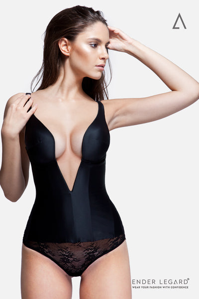 Iconic plunge-neck corset for hour-glass figure in black satin silk | ENDER LEGARD