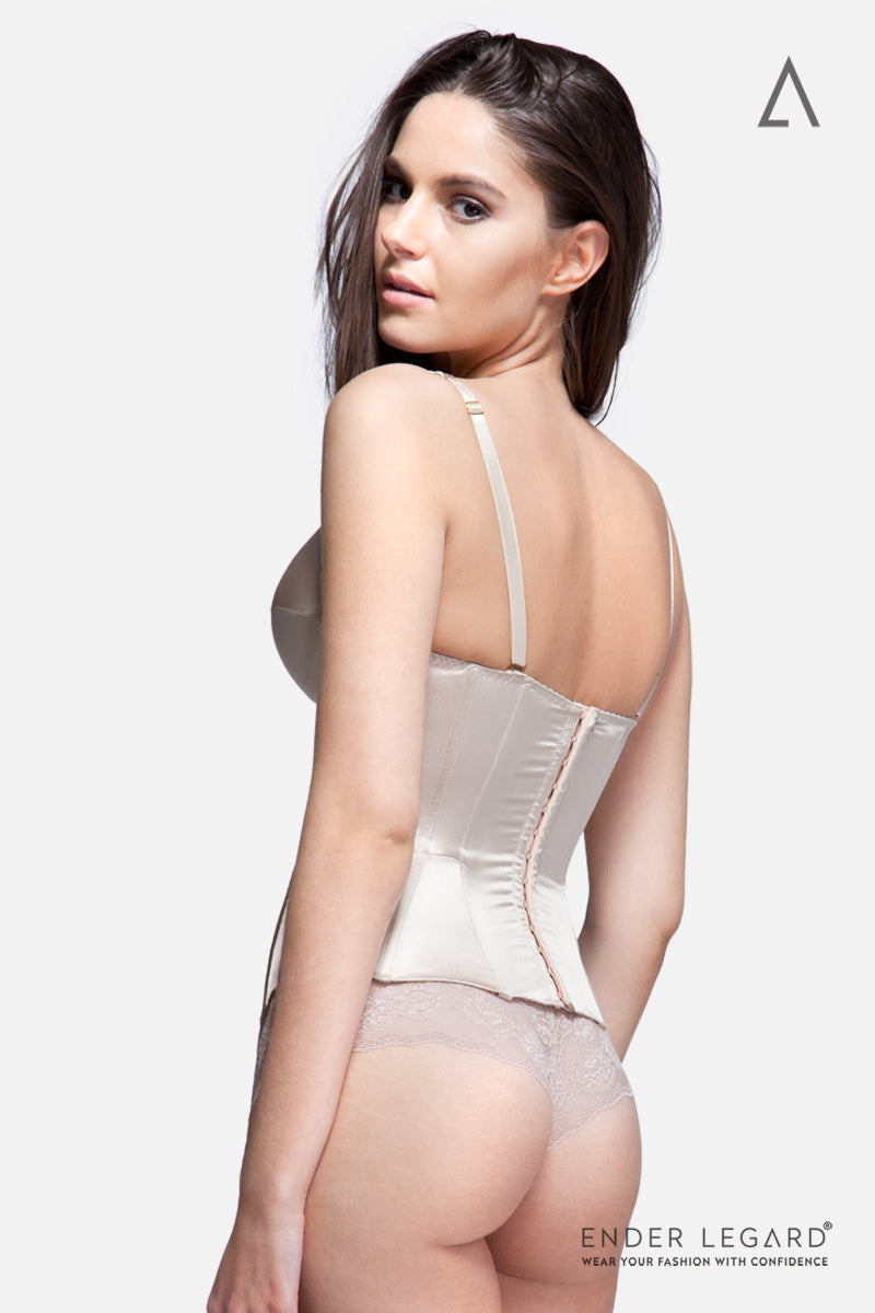 Iconic plunge-neck shaping corset with moulded cups in nude silk for wedding dress | ENDER LEGARD