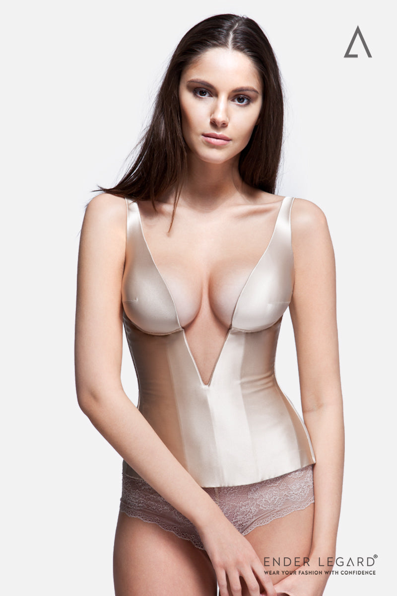 Iconic plunge-neck bridal corset for hour-glass figure in nude satin silk | ENDER LEGARD