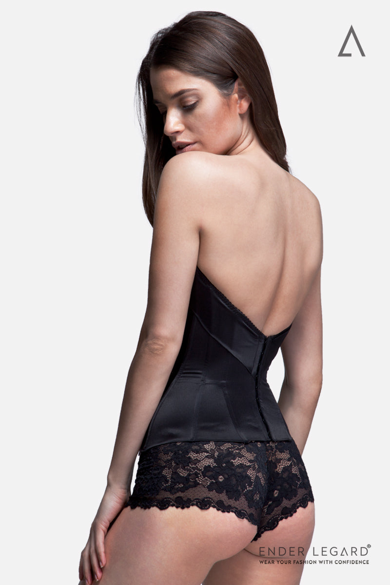 Strapless underwear corset with moulded cups in black silk for special occasion dress | ENDER LEGARD