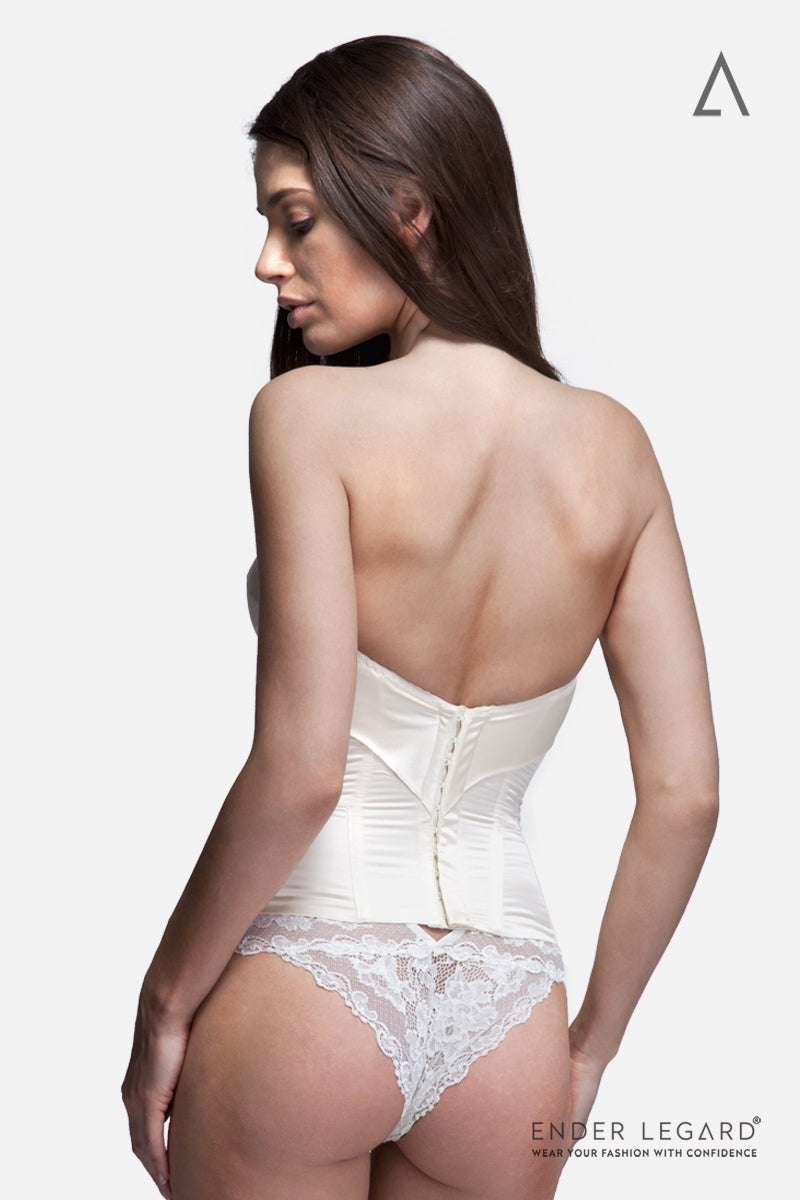 Strapless bridal underwear corset with moulded cups in ivory silk for wedding dress | ENDER LEGARD