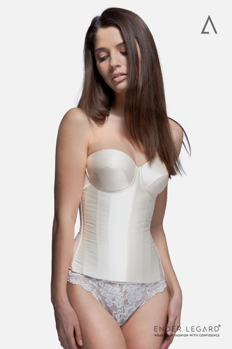 Strapless wedding underwear corset for hour-glass figure in ivory satin silk | ENDER LEGARD