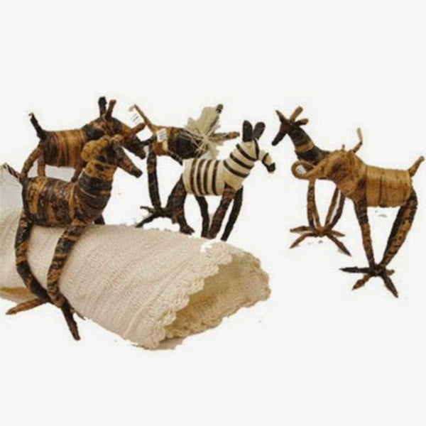 Banana Fiber Animal Napkin Rings | Set of 6 - Ikumba Design Studios - 3