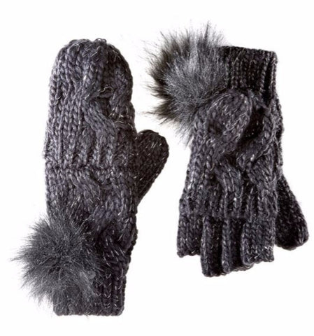 Cable Knit Convertible Mittens