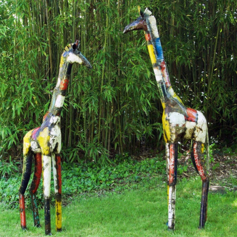Colorful Recycled Oil Drum Giraffe Sculpture