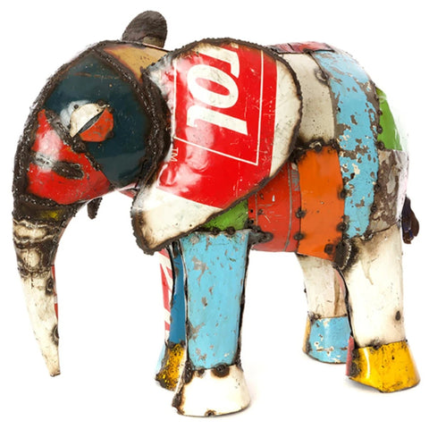 Colorful Recycled Oil Drum Matriach Elephant Sculpture