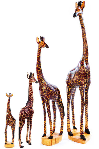 Jacaranda Wood Giraffe Sculptures